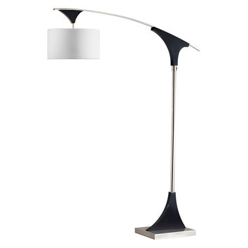 Directional Arc Lamp Dark Brown Wood Brushed Nickel & White Shade