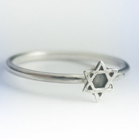 Star of David Ring - Star of David Stackable Ring - Sterling Silver Shield of David Ring