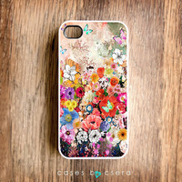 Unique iPhone Case, Colorful iPhone 4 Case, Snap on Cell Phone Case Flower Case, Abstract Case, Perfect Christmas Gift