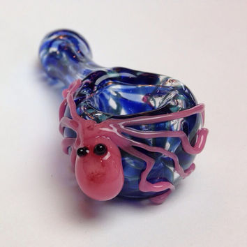 Glass pipe - pink or white octopus with cobalt and unobtainium wrap and rake