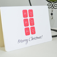 Geeky Christmas Card -  Ho Ho Ho Card - Quirky Christmas Card  - Boyfriend Christmas Card -  Merry Christmas Card