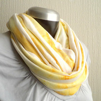 Infinity scarf,cowl, washed marigold yellow  jersey knit, light and cozy,EXTRA WIDE.READY To SHIp.
