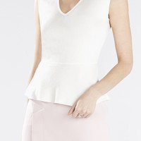 White BCBG Women's Alonya Peplum Top