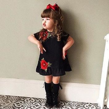 Kids Baby Girls black  dress Summer embroidery Flower Party Dress Cute Toddler Sundress short sleeve baby girl dresses 0-4T