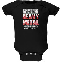 Heavy Metal Neighbors Listen Funny Black Soft Baby One Piece