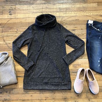 Winter Weather Cowl Neck Tunic in Taupe and Black
