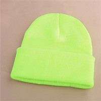 Unisex Warm Winter Knitted Beanie Neon Yellow Cuffed Skully Hat