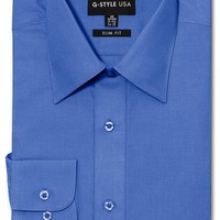 Men's Slim Fit Solid Color Dress Shirt (French Blue)