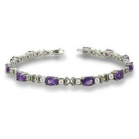 6 Carat Amethyst and Diamond Bracelet in Sterling Silver 7 inches