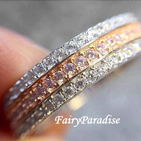 Two Tone 3 Row Full Eternity Band Paved Man Made Diamond Wedding Band / Stacking Anniversary Ring, Tri Channel Set Ring, Right Hand Ring