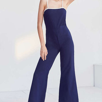 STAUD X Solid & Striped Wide-Leg Cropped Jumpsuit | Urban Outfitters