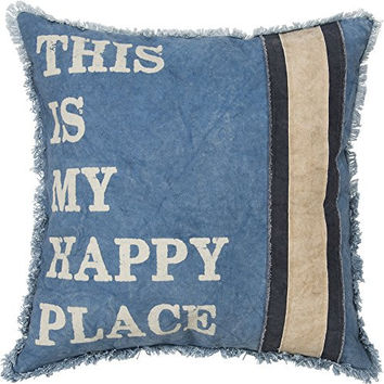 This Is My Happy Place - Blue Decorative Throw Pillow 18-In Square
