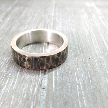 hammered bronze ring rustic wedding ring inner sterling silver ring band mens ring 6mm or 7mm wide wedding ring