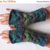 SALE Fingerless Gloves Wrist Warmers Mittens Green Blue Salad Turquoise Purple Knit