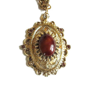 Vintage Carnelian Glass Cabochon Pendant Necklace with Topaz & Amber Rhinestones signed CELEBRITY