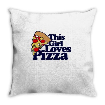 this girl loves pizza Throw Pillow