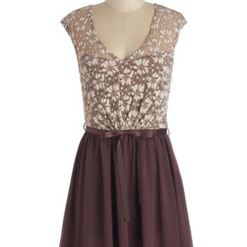 ModCloth Short Length Cap Sleeves A-line White Haute Cocoa Dress in Plum