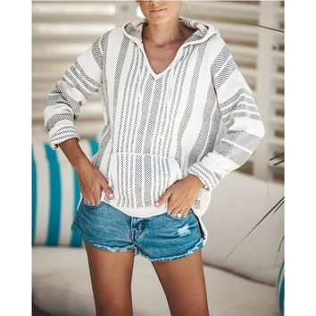 Women's Woven Baja Hooded Pullover Sweater