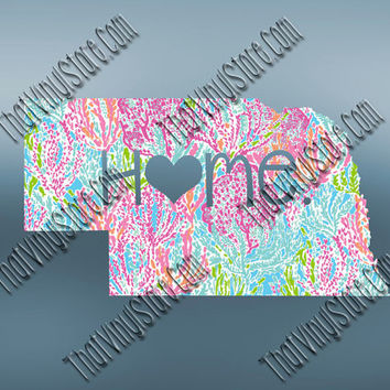 Nebraska Heart Home Decal | I Love Nebraska Decal | Homestate Decals | Love Sticker | Preppy State Sticker | Preppy State | 067