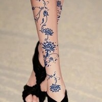 Nude Sheer Blue Flower Tattoo Lace Stockings Seamless Pantyhose