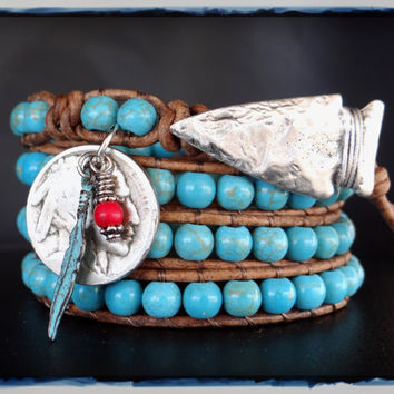 Indian bracelet, turquoise bracelet, native american, wrap bracelet, leather bracelet, southwestern jewelry, beaded bracelet, leather wrap.*
