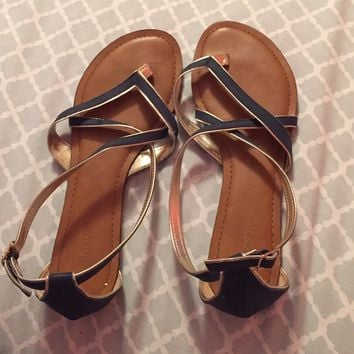 Target navy platinum brown Strappy cross sandals