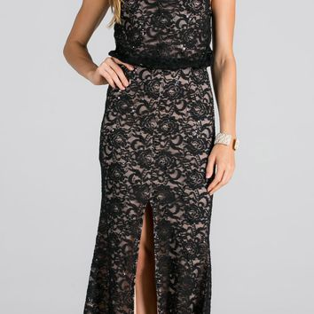 Black Blouson Fit and Flare Evening Gown with Slit