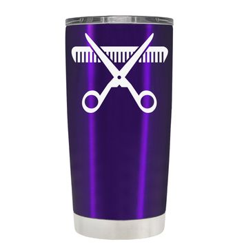 HairStylist Scissor and Comb Silhouette on Translucent Purple 20 oz Tumbler Cup