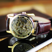 Fashion Brand Winner Leather Band Women Men Skeleton Automatic Mechanical Watch Men Women Dress Diamond Mechanical Wrist Watch