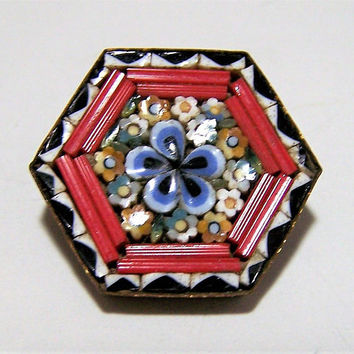 Murano Italy Micro Mosaic Pin, Italian Red Black Glass Brooch,  Micro Mosaic Flower Round Brooch, Venetian Art Deco Jewelry 717
