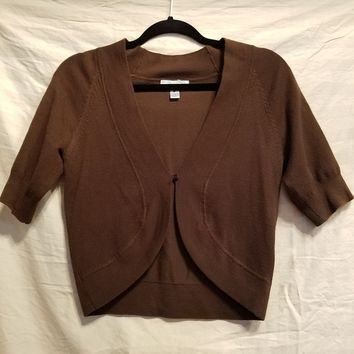 Dressbarn Brown Cropped Cardigan - Small