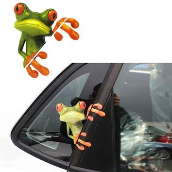 Funny Car Stickers Decals Window Stickers  3D Peep Frog Funny Car Stickers Truck Window Decal Graphics Sticker pegatinas coche
