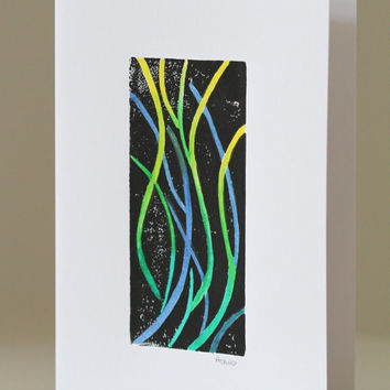 Modern Art Greeting Card, Linocut Print, One of a Kind Hand Coloured Stationery