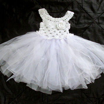 Christening girls dresses, white flower girl dress,  crochet tutu dress, communion crochet tulle dress