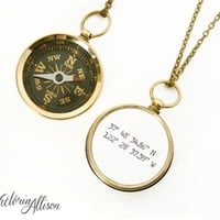 Working Compass Necklace with Latitude and Longitude Coordinates - Pocket Compass - Travel