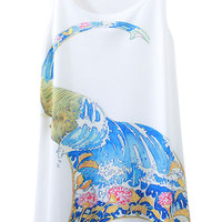 Abstract Elephant Print Sleeveless Tank