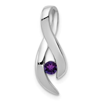 14k White Gold 3mm Amethyst Infinity Inspired Pendant