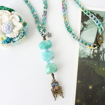 Mint Amazonite Nugget Stone Y Necklace with Patched Chair Charm on Fresh Color Coated Metal Chain
