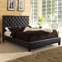 HomeHills 22886B622W(3A)[BED]PL Dark Brown Tufted Faux Leather Queen Platform Bed
