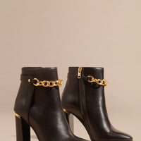 Leather Ankle Boots with Metal Chain