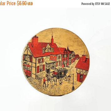 ON SALE - Small Cookie Tin, Vintage Tudor Village Scene, Horse Carriage, Red Beige and Black Litho Biscuit Container