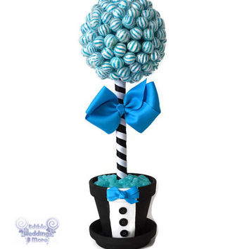 Lollipop Groom Topiary, Candy Groom Topiary, Candy Centerpiece, Wedding, Groom, centerpiece, Candy Buffet, Bridal Shower, Engagement Party