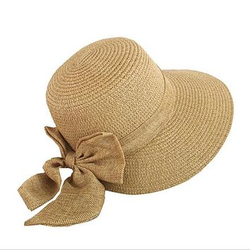 Women's Sun Hat Big Bow Wide Brim Floppy Summer Hats For Women Beach Panama Straw Bucket Hat Sun Protection Visor Femme Cap