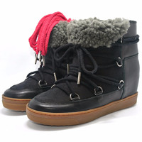 Winter Black Snow Boots Real Fur Nowles Shearling-Lined Genuine Leather Wedge Boots Two Shoelaces 35~41 Heel 7cm Women's Shoes