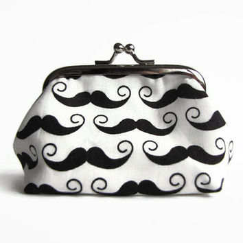 Coin purse , metal frame purse , kisslock purse , mustache gifts for him , Valentine's day