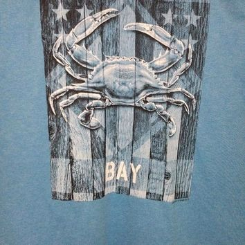New CHESAPEAKE BAY  MARYLAND  FLAG  T  SHIRT BLUE MARYLAND CRAB