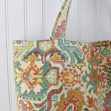Southwest Indian Print Large Tote Bag, Farmers Market Bag, Reusable Grocery Bag, MK113