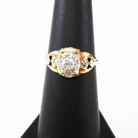 Art Deco 14K & Diamond Ring, European Cut, Mine cut and Rose Cut Diamonds, Yellow + Rose Gold Vintage 1920s 1930s Wedding Ring Gift For Her