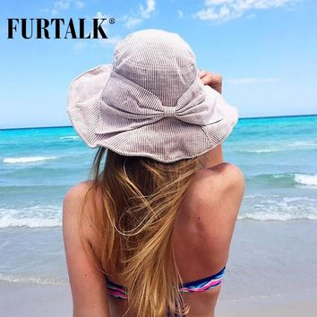 FURTALK Summer Sun Hats for Women Fashion Design Women Beach Cotton Hat Foldable Brimmed Bucket Hat for Fishing