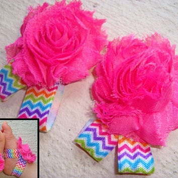 Baby Barefoot Sandals - Hot Pink Chevron Piggy Petals - Toe Blooms - Photo Props - Baby Shower Gift - - Baby Shoes - Infant Shoes